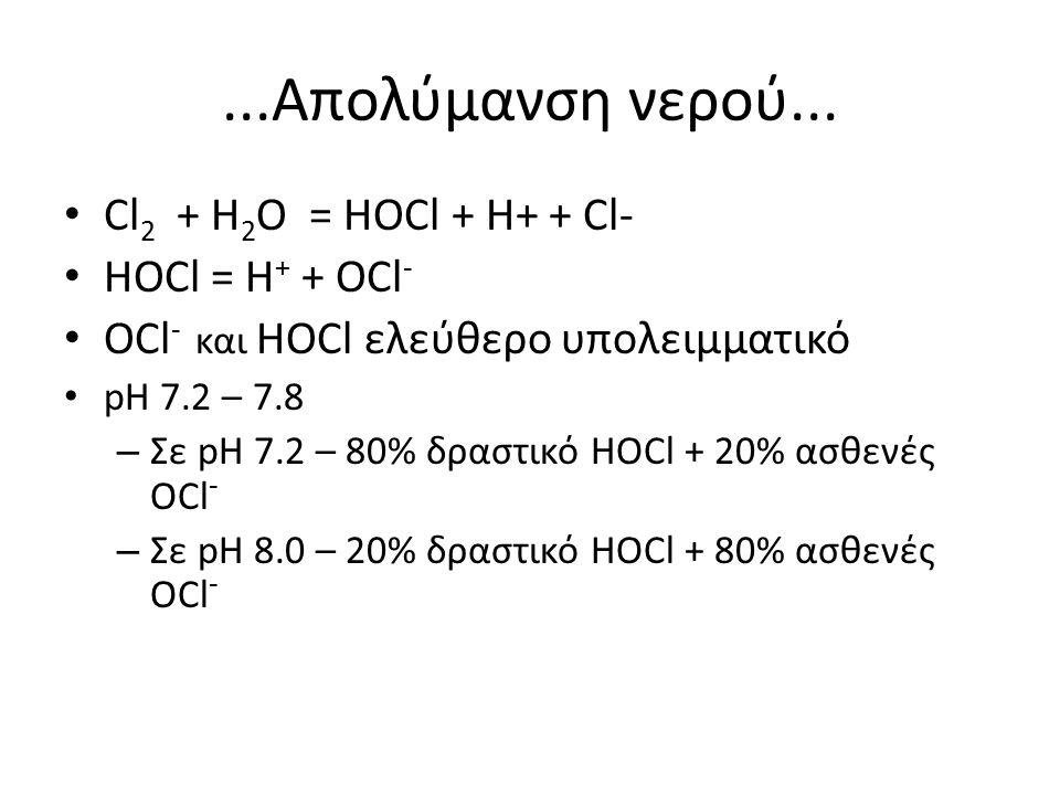 ...Απολύμανση νερού... Cl2 + H2Ο = HOCl + H+ + Cl- HOCl = H+ + OCl-