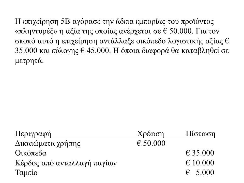 Η επιχείρηση 5Β αγόρασε την άδεια εμπορίας του προϊόντος «πληντυρέξ» η αξία της οποίας ανέρχεται σε € 50.000. Για τον σκοπό αυτό η επιχείρηση αντάλλαξε οικόπεδο λογιστικής αξίας € 35.000 και εύλογης € 45.000. Η όποια διαφορά θα καταβληθεί σε μετρητά.
