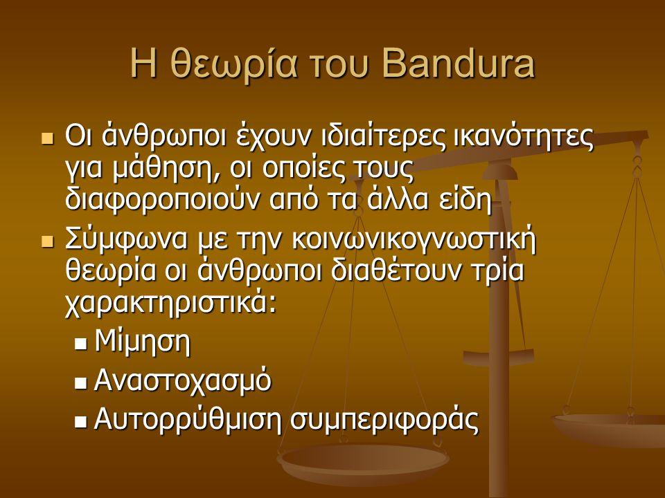 Η θεωρία του Bandura Οι άνθρωποι έχουν ιδιαίτερες ικανότητες για μάθηση, οι οποίες τους διαφοροποιούν από τα άλλα είδη.
