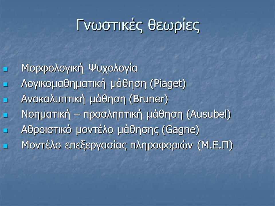 Γνωστικές θεωρίες Μορφολογική Ψυχολογία