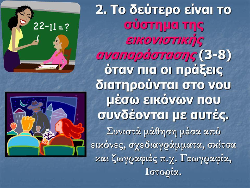 2. Το δεύτερο είναι το σύστημα της εικονιστικής αναπαράστασης (3-8) όταν πια οι πράξεις διατηρούνται στο νου μέσω εικόνων που συνδέονται με αυτές.