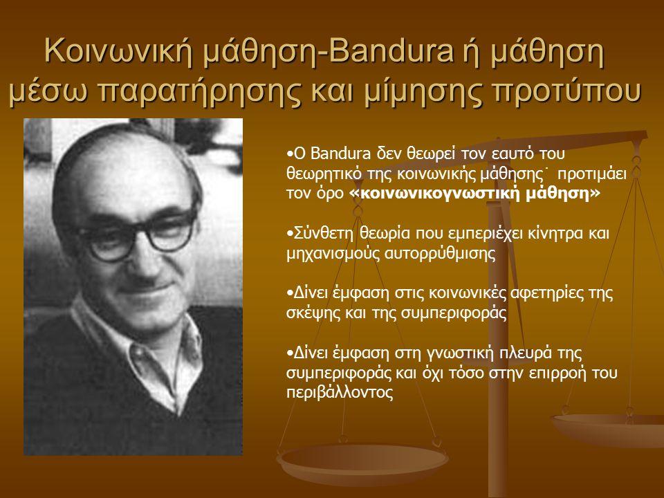 Κοινωνική μάθηση-Bandura ή μάθηση μέσω παρατήρησης και μίμησης προτύπου
