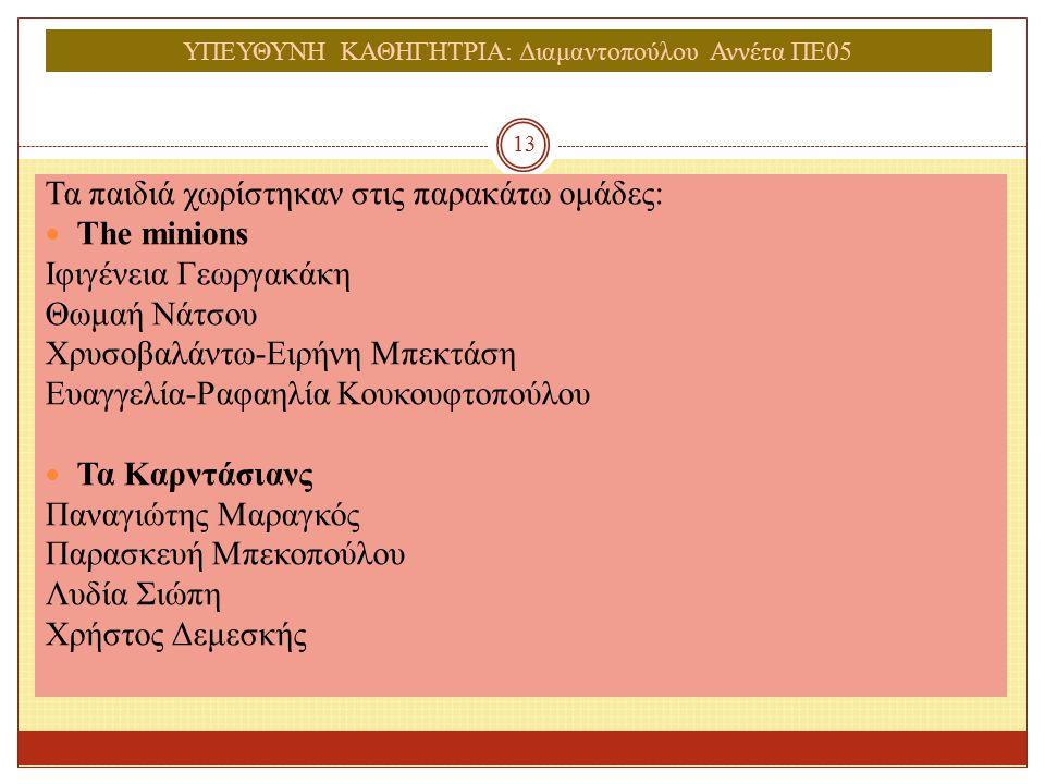 ΥΠΕΥΘΥΝΗ ΚΑΘΗΓΗΤΡΙΑ: Διαμαντοπούλου Αννέτα ΠΕ05