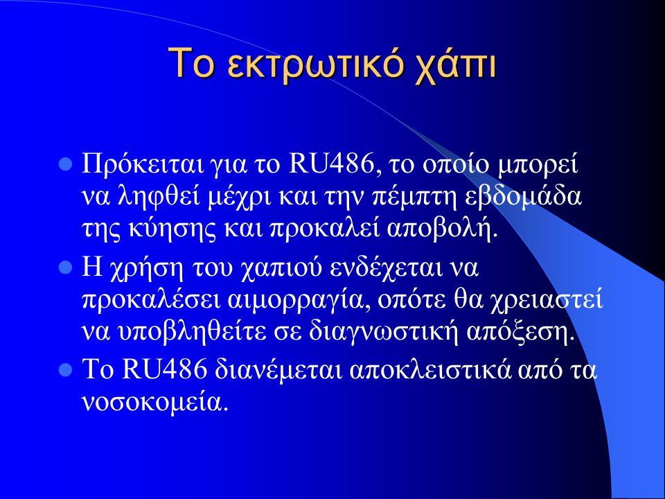 Το εκτρωτικό χάπι Πρόκειται για το RU486, το οποίο μπορεί να ληφθεί μέχρι και την πέμπτη εβδομάδα της κύησης και προκαλεί αποβολή.