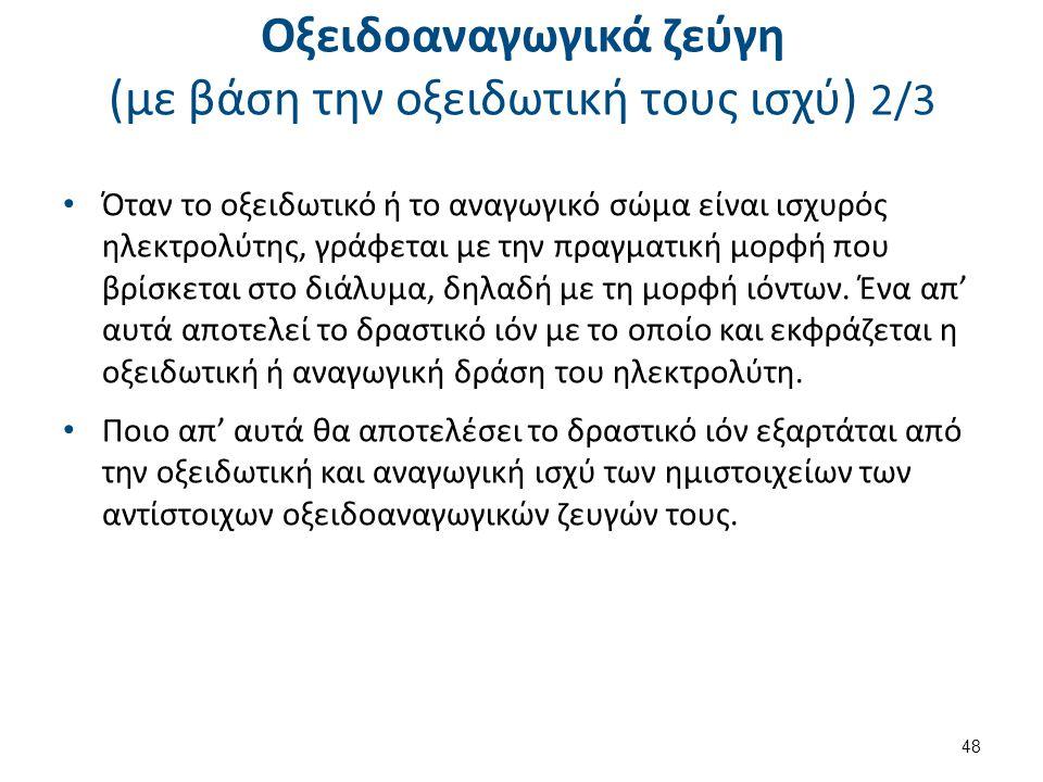 Οξειδοαναγωγικά ζεύγη (με βάση την οξειδωτική τους ισχύ) 3/3
