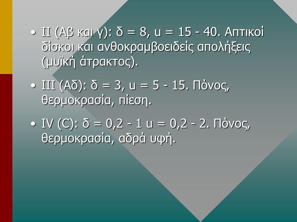 ΙΙ (Αβ και γ): δ = 8, u = 15 - 40. Απτικοί δίσκοι και ανθοκραμβοειδείς απολήξεις (μυϊκή άτρακτος).