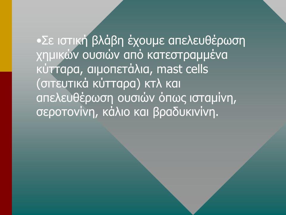 Σε ιστική βλάβη έχουμε απελευθέρωση χημικών ουσιών από κατεστραμμένα κύτταρα, αιμοπετάλια, mast cells (σιτευτικά κύτταρα) κτλ και απελευθέρωση ουσιών όπως ισταμίνη, σεροτονίνη, κάλιο και βραδυκινίνη.