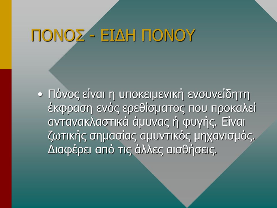 ΠΟΝΟΣ - ΕΙΔΗ ΠΟΝΟΥ