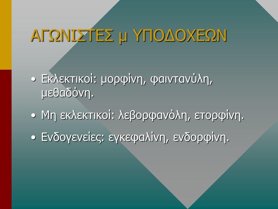 ΑΓΩΝΙΣΤΕΣ μ ΥΠΟΔΟΧΕΩΝ Εκλεκτικοί: μορφίνη, φαιντανύλη, μεθαδόνη.