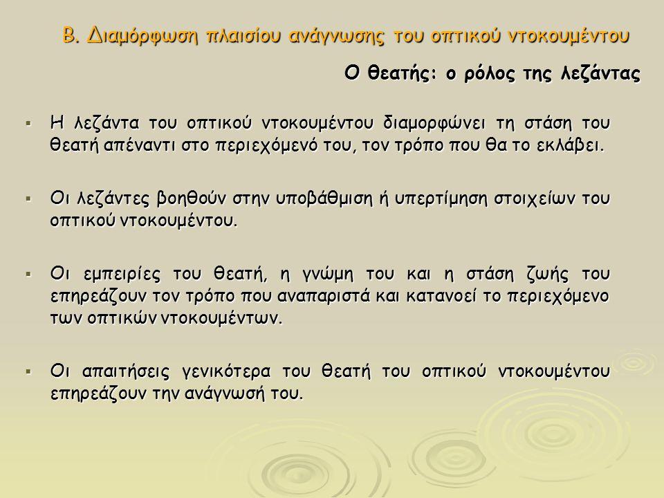 Β. Διαμόρφωση πλαισίου ανάγνωσης του οπτικού ντοκουμέντου