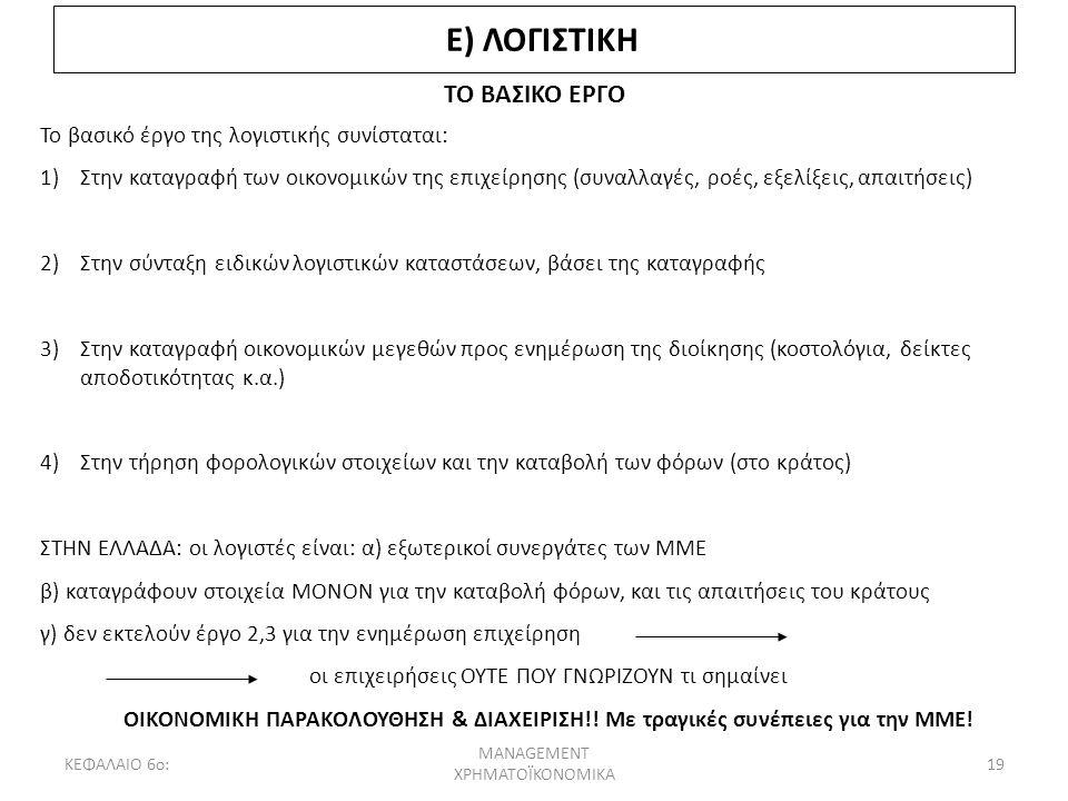 Ε) ΛΟΓΙΣΤΙΚΗ ΤΟ ΒΑΣΙΚΟ ΕΡΓΟ Το βασικό έργο της λογιστικής συνίσταται: