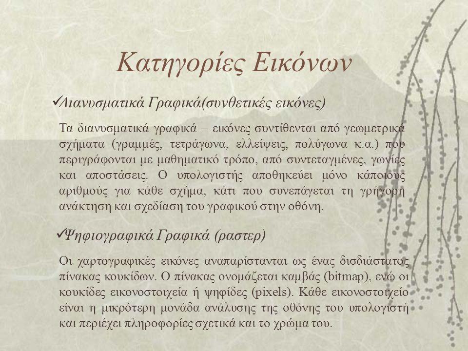Κατηγορίες Εικόνων Διανυσματικά Γραφικά(συνθετικές εικόνες)