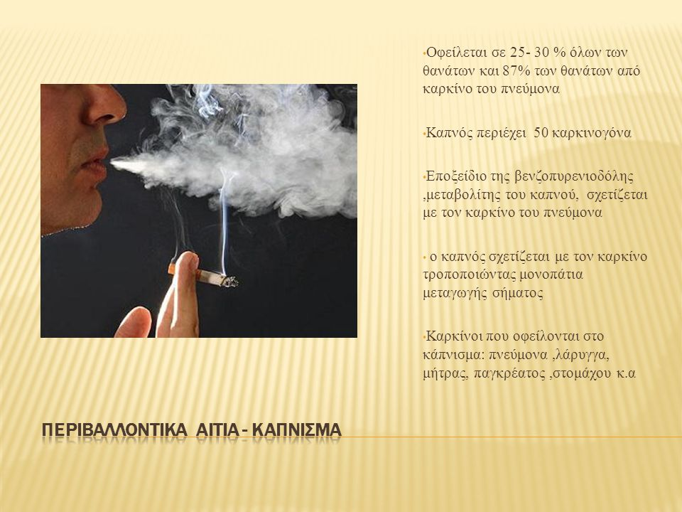 Περιβαλλοντικα αιτια - καπνισμα