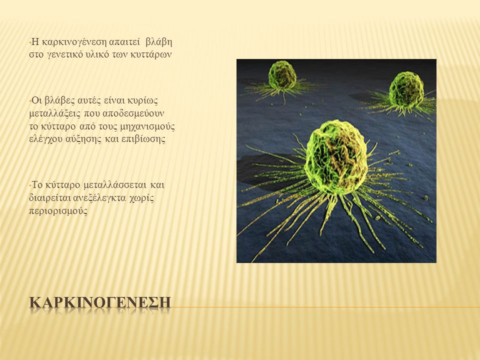 Η καρκινογένεση απαιτεί βλάβη στο γενετικό υλικό των κυττάρων