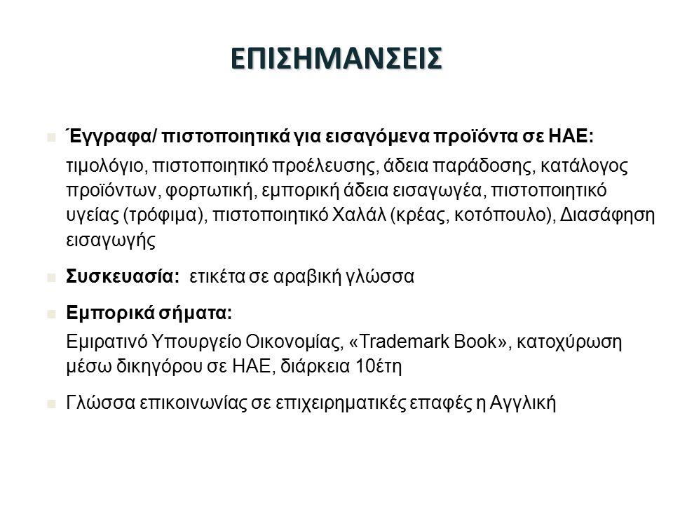 ΕΠΙΣΗΜΑΝΣΕΙΣ Έγγραφα/ πιστοποιητικά για εισαγόμενα προϊόντα σε ΗΑΕ: