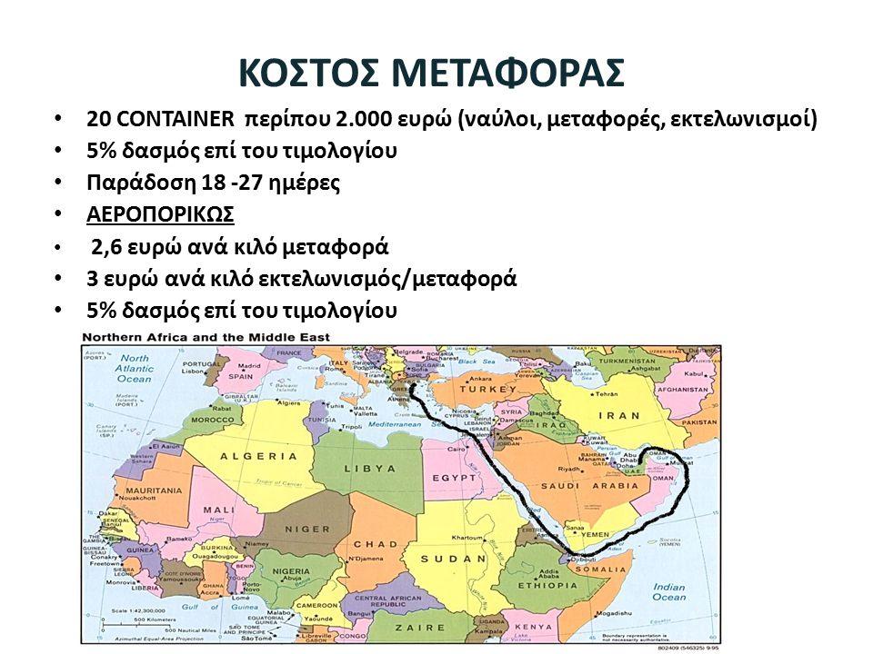 ΚΟΣΤΟΣ ΜΕΤΑΦΟΡΑΣ 20 CONTAINER περίπου 2.000 ευρώ (ναύλοι, μεταφορές, εκτελωνισμοί) 5% δασμός επί του τιμολογίου.