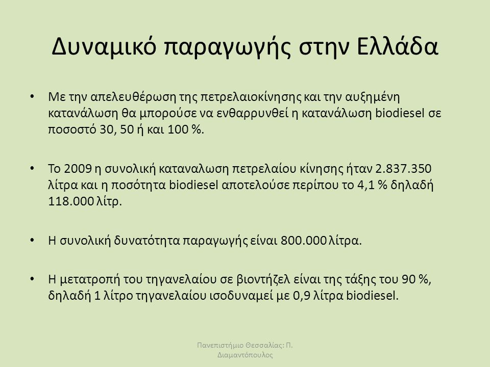 Δυναμικό παραγωγής στην Ελλάδα