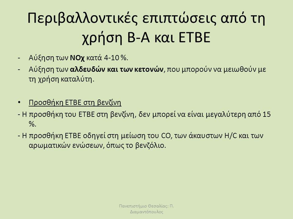 Περιβαλλοντικές επιπτώσεις από τη χρήση Β-Α και ΕΤΒΕ