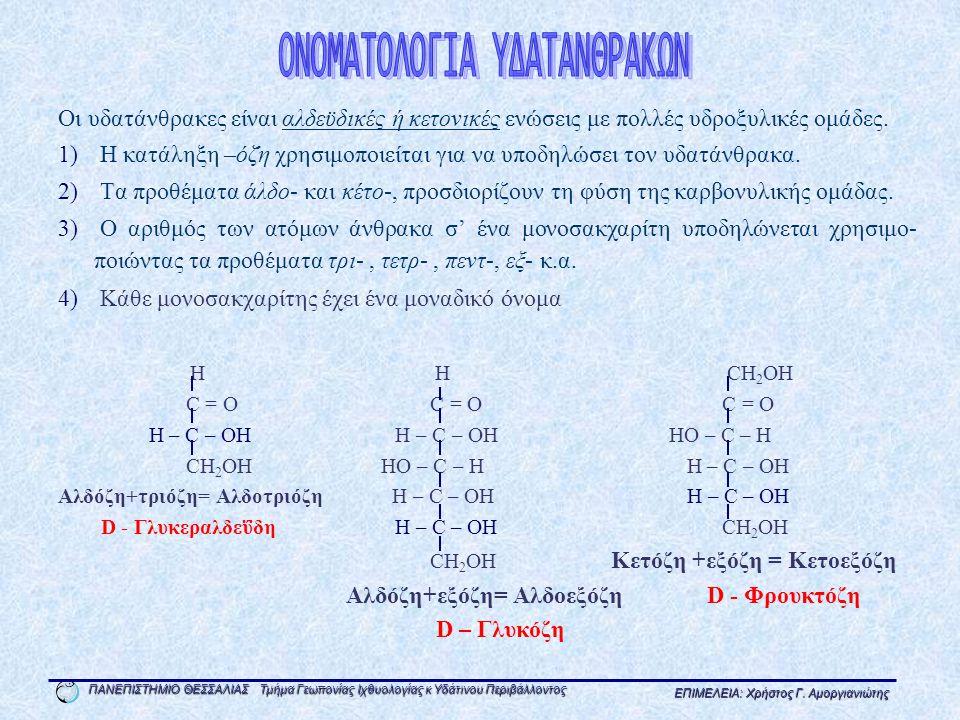 ΟΝΟΜΑΤΟΛΟΓΙΑ ΥΔΑΤΑΝΘΡΑΚΩΝ