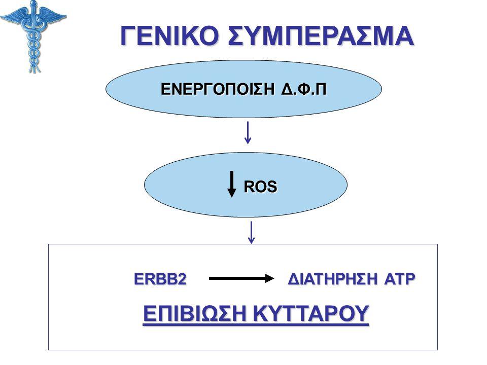 ΓΕΝΙΚΟ ΣΥΜΠΕΡΑΣΜΑ ROS ΕΝΕΡΓΟΠΟΙΣΗ Δ.Φ.Π ERBB2 ΔΙΑΤΗΡΗΣΗ ATP