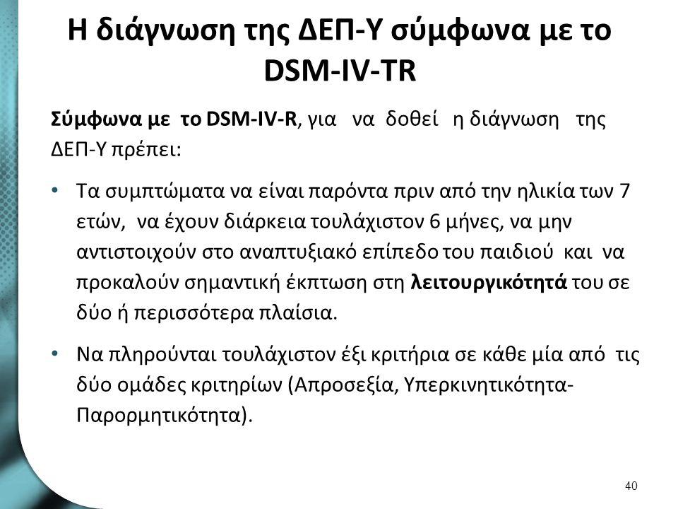Τα κριτήρια για τη διάγνωση της ΔΕΠ-Υ σύμφωνα με το DSM-IV-TR 1/5