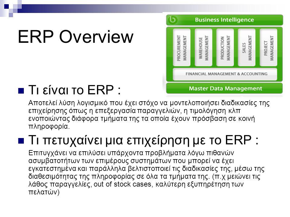 ERP Overview Τι είναι το ΕRP :
