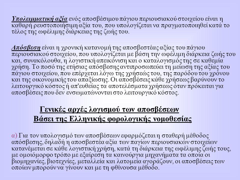 Βάσει της Ελληνικής φορολογικής νομοθεσίας