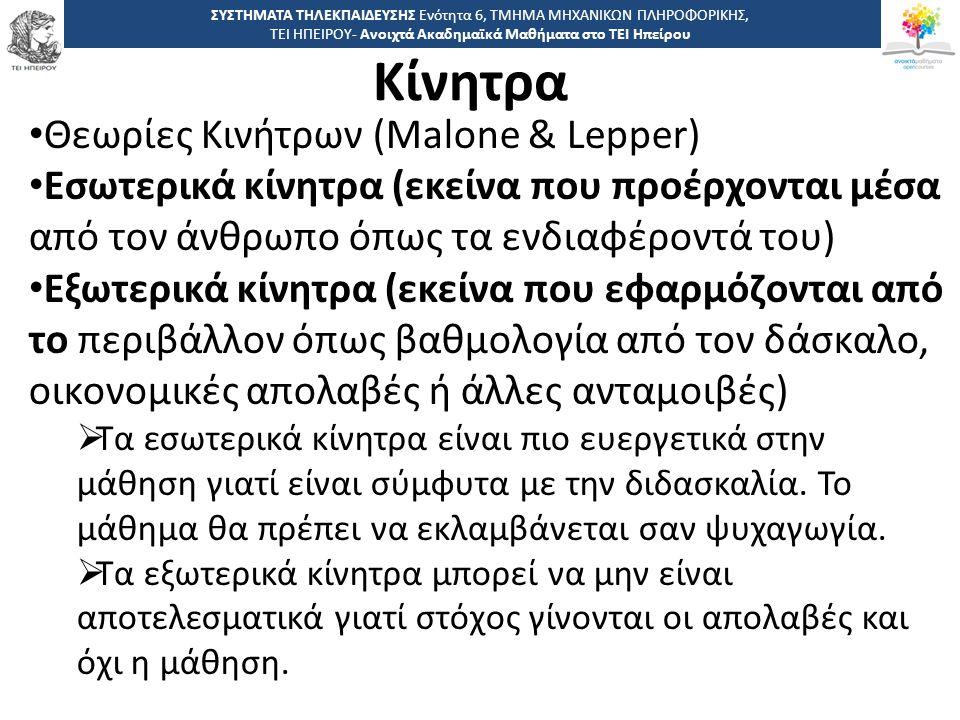 Κίνητρα Θεωρίες Κινήτρων (Malone & Lepper)