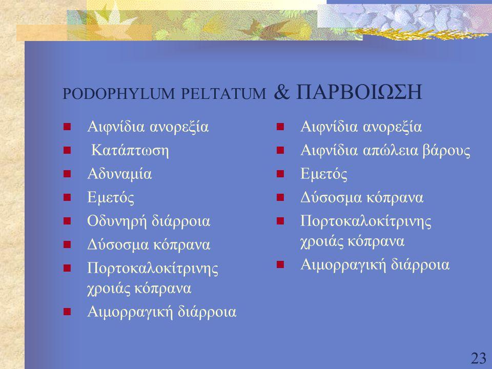 PODOPHYLUM PELTATUM & ΠΑΡΒΟΙΩΣΗ