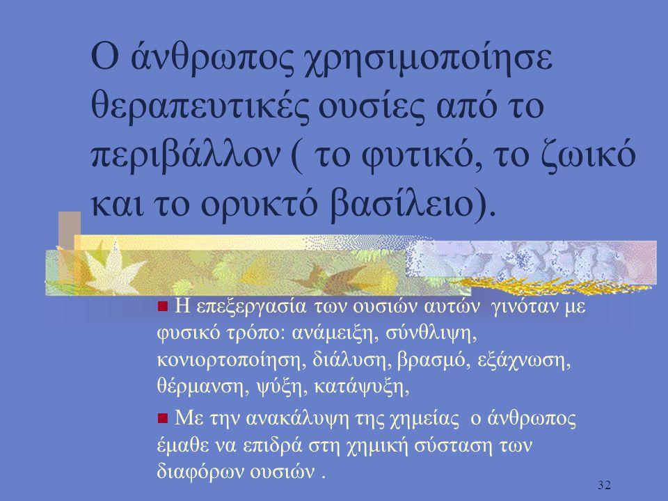 Ο άνθρωπος χρησιμοποίησε θεραπευτικές ουσίες από το περιβάλλον ( το φυτικό, το ζωικό και το ορυκτό βασίλειο).