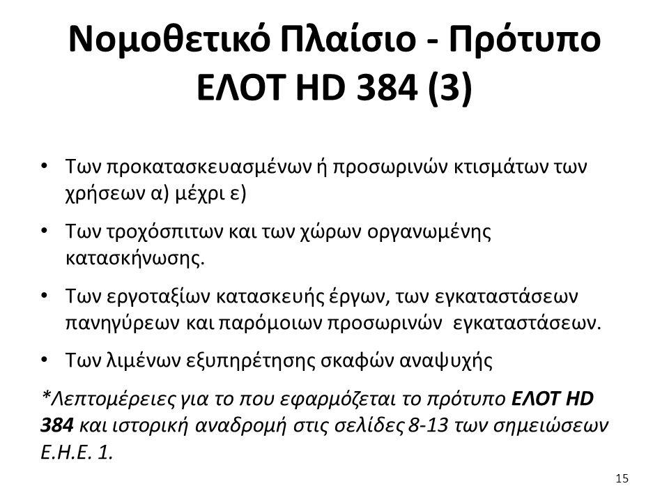 Νομοθετικό Πλαίσιο - Πρότυπο ΕΛΟΤ HD 384 (3)