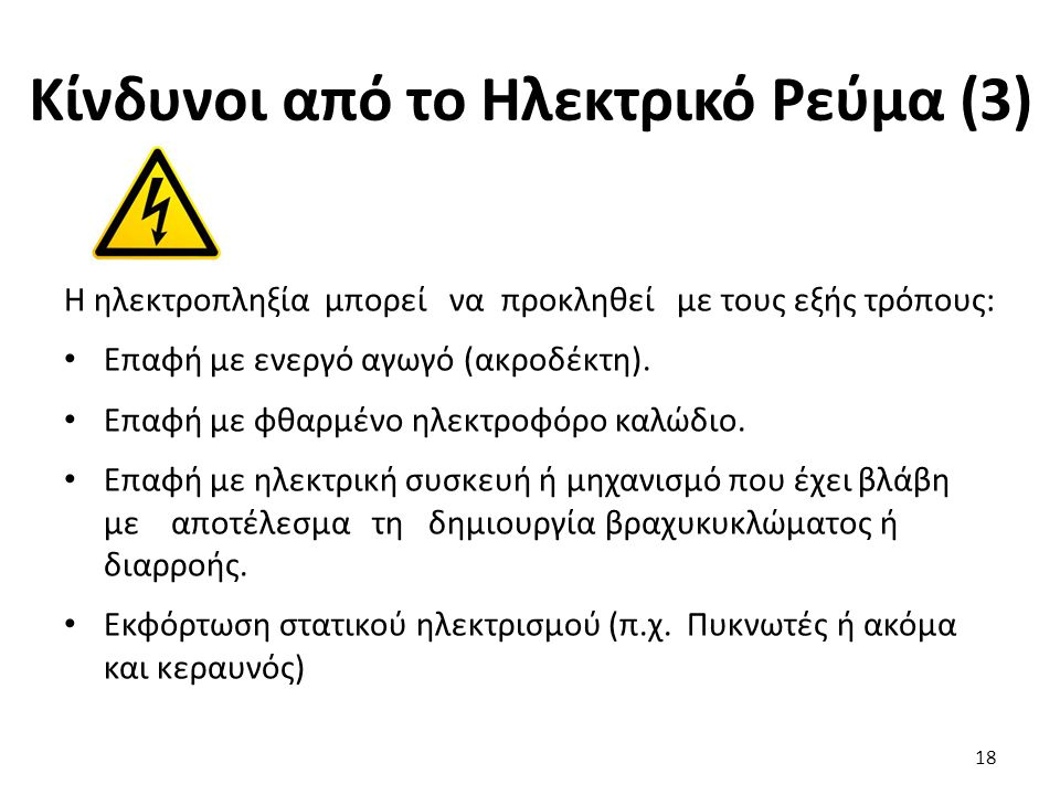 Κίνδυνοι από το Ηλεκτρικό Ρεύμα (3)