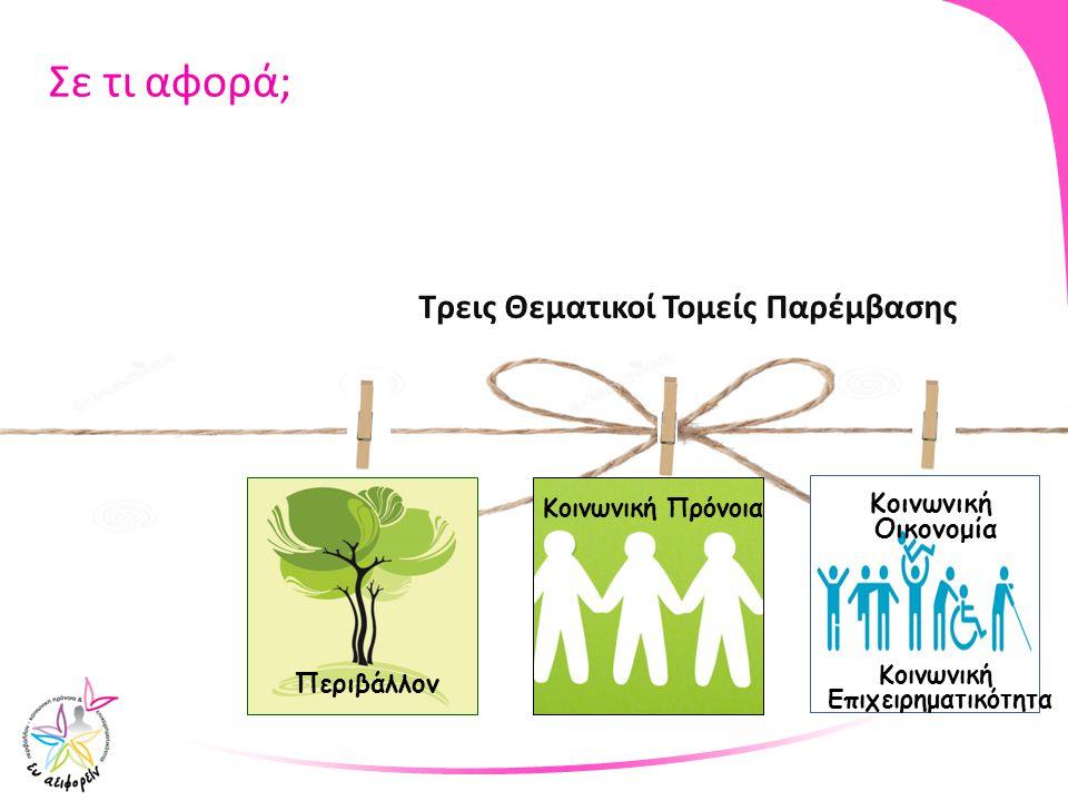 Σε τι αφορά; Τρεις Θεματικοί Τομείς Παρέμβασης Κοινωνική Περιβάλλον