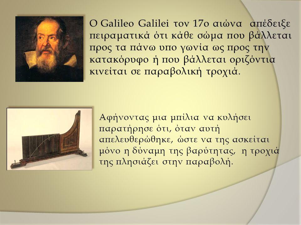 O Galileo Galilei τον 17ο αιώνα απέδειξε πειραματικά ότι κάθε σώμα που βάλλεται προς τα πάνω υπο γωνία ως προς την κατακόρυφο ή που βάλλεται οριζόντια κινείται σε παραβολική τροχιά.