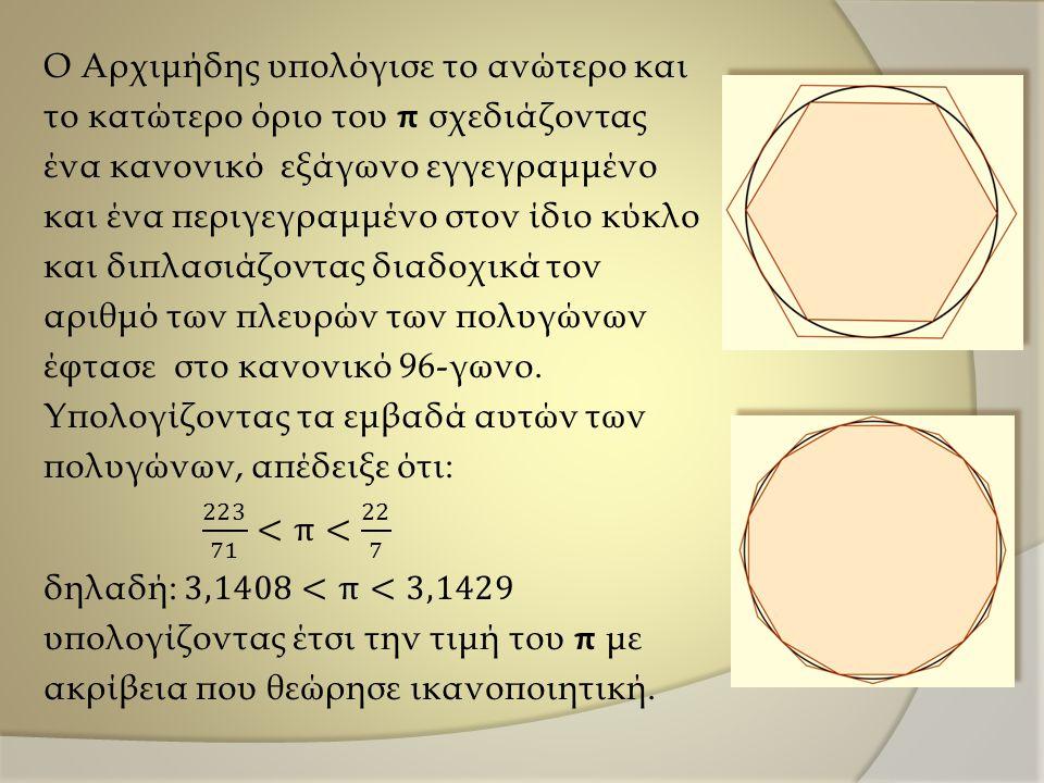 Ο Αρχιμήδης υπολόγισε το ανώτερο και