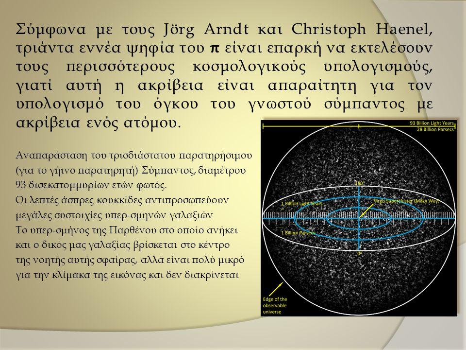 Σύμφωνα με τους Jörg Arndt και Christoph Haenel, τριάντα εννέα ψηφία του π είναι επαρκή να εκτελέσουν τους περισσότερους κοσμολογικούς υπολογισμούς, γιατί αυτή η ακρίβεια είναι απαραίτητη για τον υπολογισμό του όγκου του γνωστού σύμπαντος με ακρίβεια ενός ατόμου.