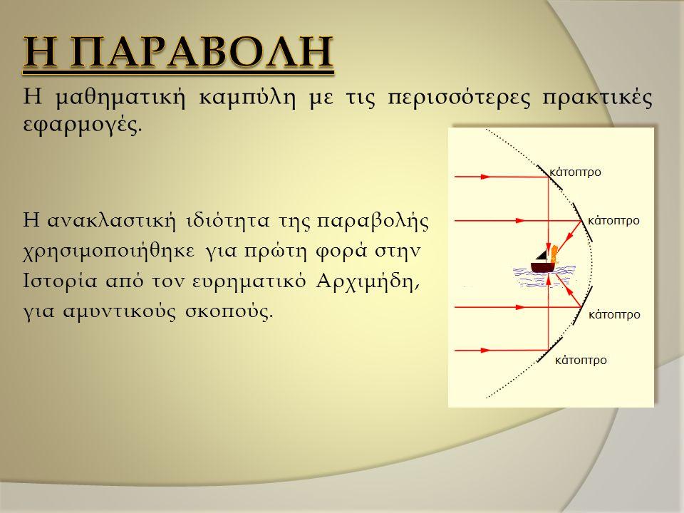 Η ΠΑΡΑΒΟΛΗ Η μαθηματική καμπύλη με τις περισσότερες πρακτικές εφαρμογές. Η ανακλαστική ιδιότητα της παραβολής.