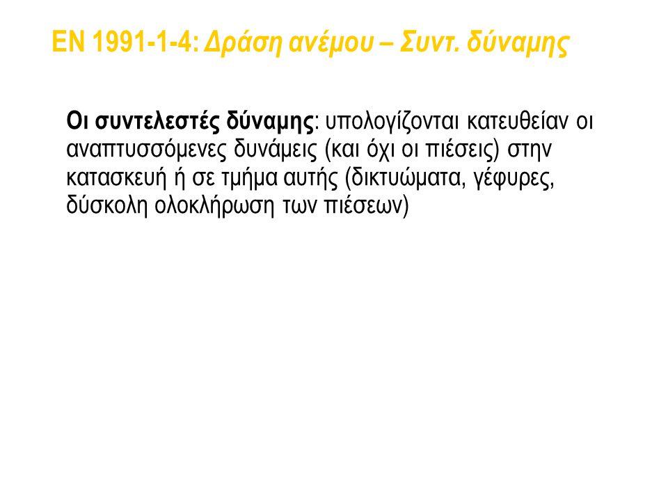 EN 1991-1-4: Δράση ανέμου – Συντ. δύναμης