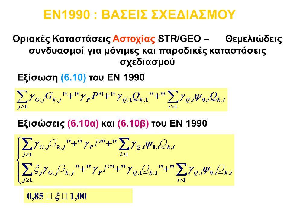 EN1990 : ΒΑΣΕΙΣ ΣΧΕΔΙΑΣΜΟΥ Οριακές Καταστάσεις Αστοχίας STR/GEO – Θεμελιώδεις συνδυασμοί για μόνιμες και παροδικές καταστάσεις σχεδιασμού.