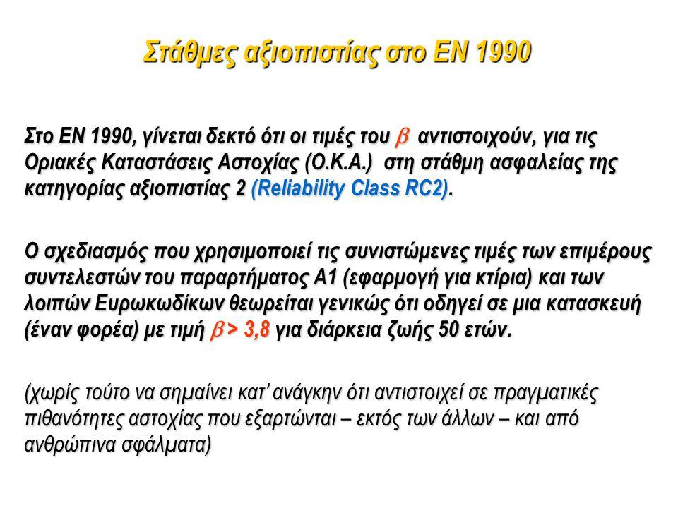 Στάθμες αξιοπιστίας στο EN 1990