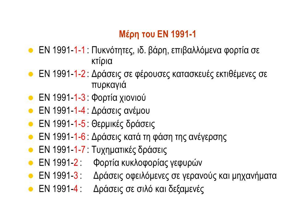 Μέρη του EN 1991-1 EN 1991-1-1 : Πυκνότητες, ιδ. βάρη, επιβαλλόμενα φορτία σε κτίρια.