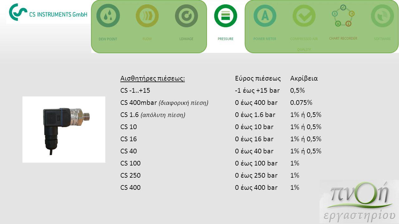 Αισθητήρες πιέσεως: Εύρος πιέσεως. Ακρίβεια. CS -1..+15. -1 έως +15 bar. 0,5% CS 400mbar (διαφορική πίεση)