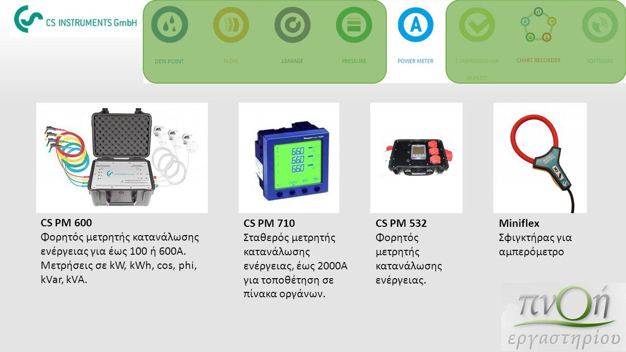 CS PM 600 Φορητός μετρητής κατανάλωσης ενέργειας για έως 100 ή 600Α. Μετρήσεις σε kW, kWh, cos, phi, kVar, kVA.