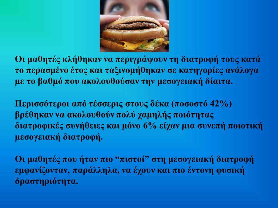 Οι μαθητές κλήθηκαν να περιγράψουν τη διατροφή τους κατά το περασμένο έτος και ταξινομήθηκαν σε κατηγορίες ανάλογα με το βαθμό που ακολουθούσαν την μεσογειακή δίαιτα.