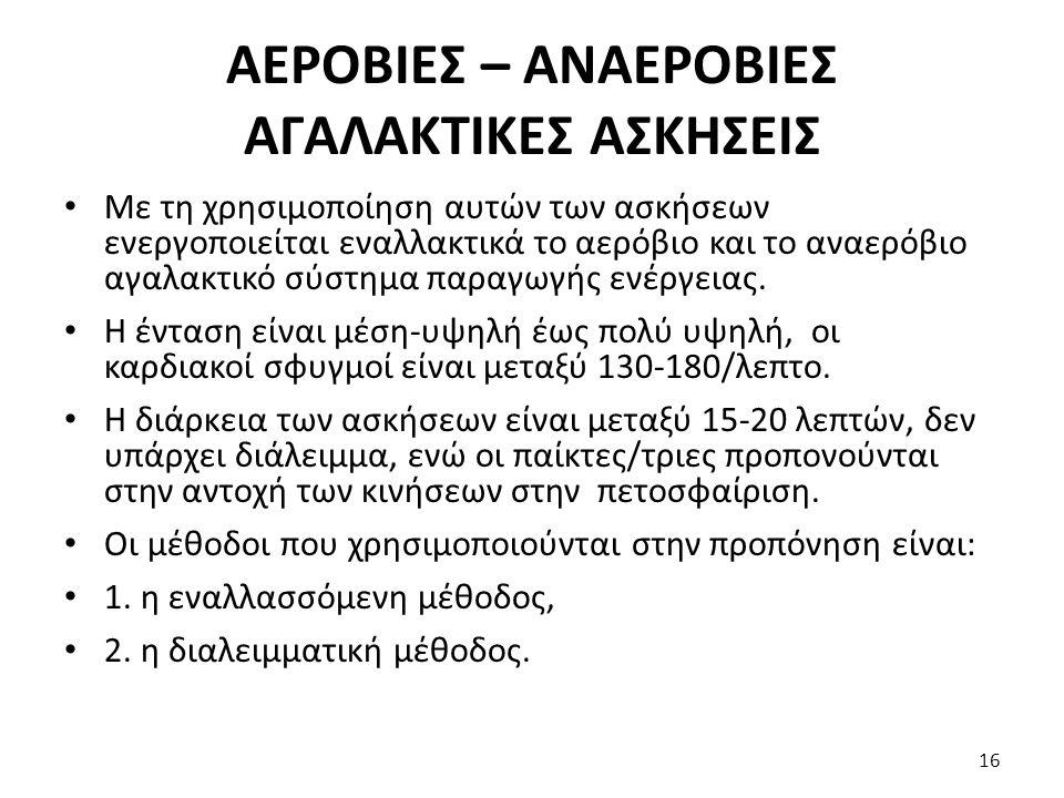 ΑΕΡΟΒΙΕΣ – ΑΝΑΕΡΟΒΙΕΣ ΑΓΑΛΑΚΤΙΚΕΣ ΑΣΚΗΣΕΙΣ