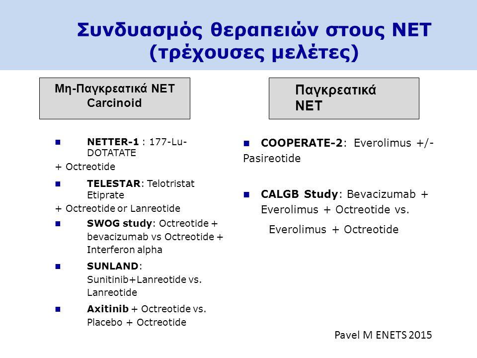 Συνδυασμός θεραπειών στους NET (τρέχουσες μελέτες)