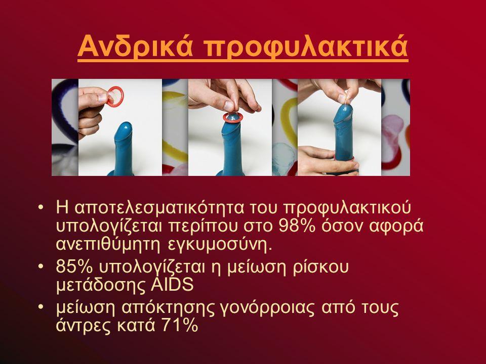 Ανδρικά προφυλακτικά Η αποτελεσματικότητα του προφυλακτικού υπολογίζεται περίπου στο 98% όσον αφορά ανεπιθύμητη εγκυμοσύνη.
