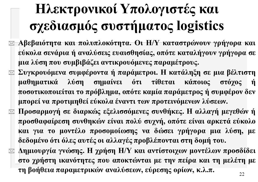Ηλεκτρονικοί Υπολογιστές και σχεδιασμός συστήματος logistics