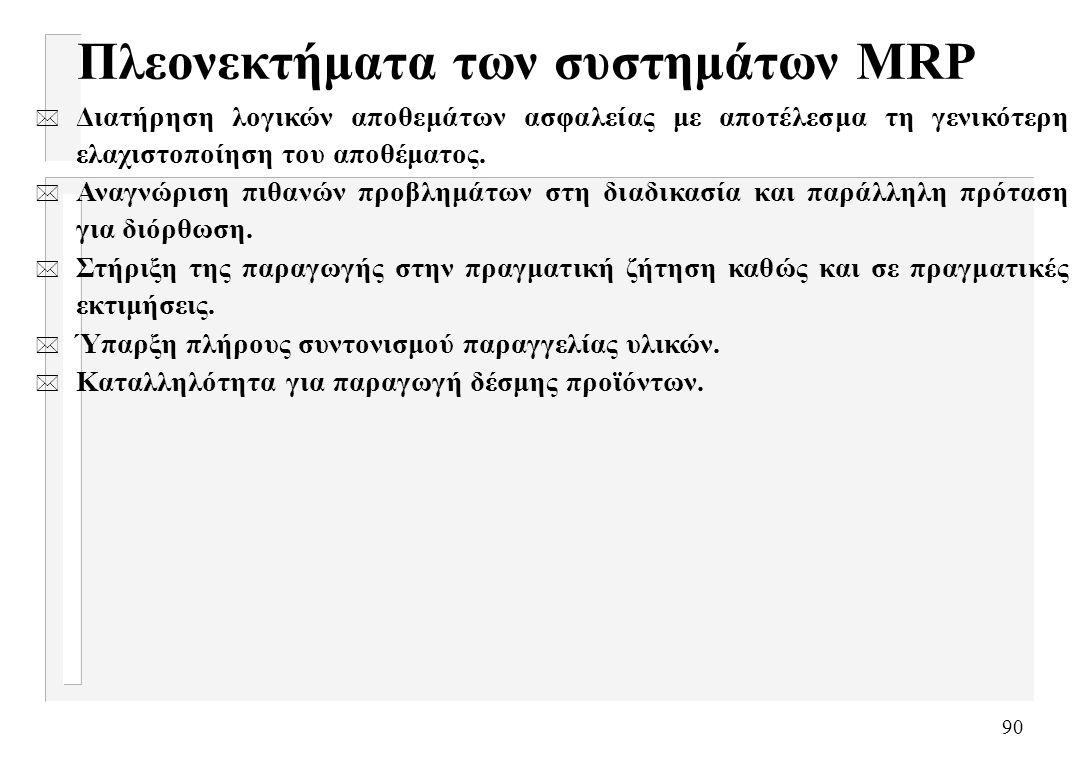 Πλεονεκτήματα των συστημάτων MRP