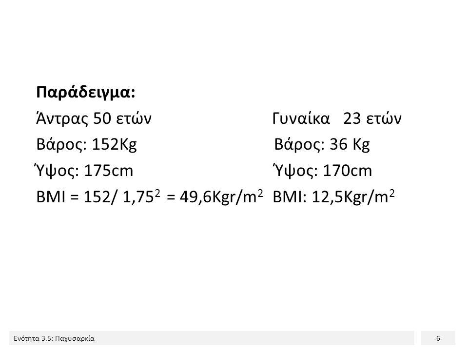 Παράδειγμα: Άντρας 50 ετών Γυναίκα 23 ετών Βάρος: 152Kg Βάρος: 36 Kg Ύψος: 175cm Ύψος: 170cm BMI = 152/ 1,752 = 49,6Kgr/m2 BMI: 12,5Kgr/m2